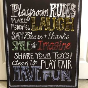 Playroom Rules wall decor / art / canvas